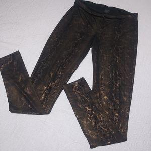 HUE Copper Snake Print Sleek Ponte Leggings Sm
